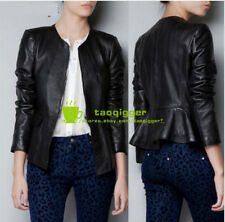 Leather Womens Flounced Round Collar Zipper Slim Fit Jackets Outdoor Coat Size