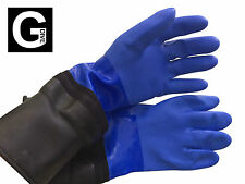 Blue Gloves for Drysuit with straight Cuff to be pulled over ring system