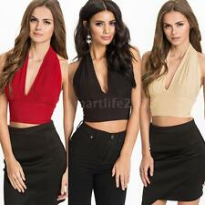 Vogue Sexy Women Crop Top Halter Neck V Neck Backless Bodycon Tank Tops T-Shirt