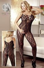 Catsuit Schritt offen Spitze Bodysuit Body Overall Stockings Nylon XXL Dessous