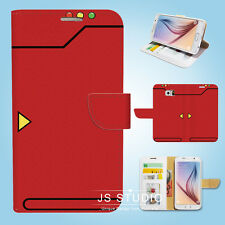 Samsung Galaxy S3 S4 S5 S6 Edge Note Wallet Case Cover Pokemon Red Pokedex W083