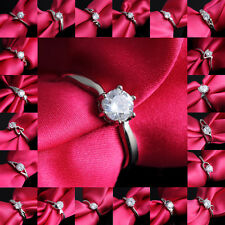 HOT 18K White Gold Plated Band Ring White Sapphire Wedding Jewelry Size 7/8 Gift