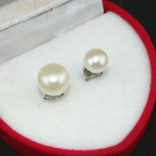 Natural White Freshwater Pearl Bead 6mm 8mm 925 Sterling Silver Stud Earrings