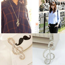 HOT Girl Lady Gold Crystal Music Note Rhythm Long Chain Sweater Necklace Pendant