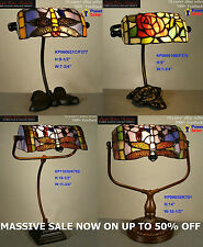 VARIOUS TIFFANY STYLE STAINED GLASS LEADLIGHT BANKERS DESK LAMP TABLE STUDY ROOM