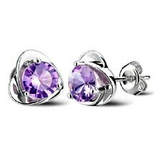 Wholesale 925 Silver Amethyst Heart Stud Earrings Women Fashion Jewelry