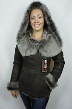 Brown 100% Sheepskin Shearling Leather Lambskin Toscana Hood Jacket Coat XS-5XL