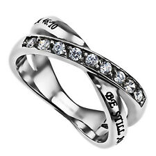 Be Still Ring Psalm 46:10, Christian Bible Verse, Stainless Steel with CZ Stone