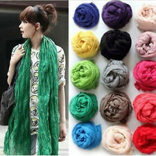 Womens Soft Candy Colors Long Crinkle Scarf Wrap cotton blend Wraps Stole Shawl