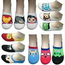 6 Pairs Womens Ankle Socks Superhero Nonslip Invisible No Show Low Cut Loafer AB