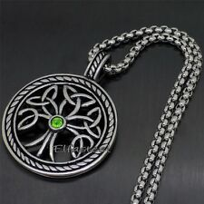 Tree of Life Celtic Knot Green CZ Stone 316L Stainless Steel Pendant