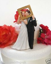 Bride & Groom Holding a Picture Frame Very Gentle Couple Wedding Cake Topper New