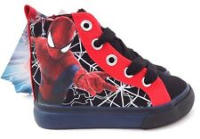 NEW Black MARVEL KIDS SPIDER-MAN BOY'S GIRL'S CANVAS SNEAKERS High Hi Top Shoes