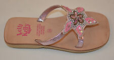 Genuine Lelli Kelly Girls Toe Post Sandals - Pink Leather With Diamonds (B10-13