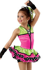 NWOT NEW! Dance Costume Green Pink Zebra 2 PC Hip Hop Solo Competition Pageant