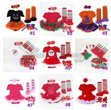 4PCS Baby Girls Tutu Romper Dress Christmas Halloween Bloomers Outfit Jumpsuit
