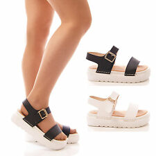 LADIES WOMENS CHUNKY WEDGE SANDALS FAUX LEATHER BLACK WHITE  SUMMER SHOES SIZE