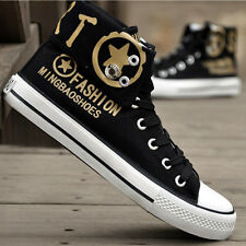 Fashion Mens Casual Canvas High Top Flats Lace Up Trainers Sneakers Sports Shoes
