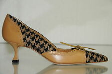 NEW MANOLO BLAHNIK Tweed Leather BEIGE BLACK SHOES KITTEN Brown Camel 35 36.5