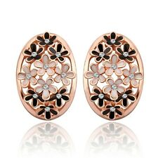 Women 18K Gold Plated GP Fashion Jewelry Flower Crystal Stud Cocktail Earrings