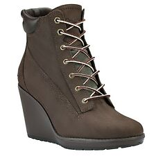 NEW Timberland Womens Earthkeepers Boots Ankle Wedge Heel Brown Meriden 8447R