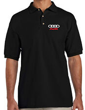 AUDI LOGO EMBROIDERED BLACK POLO SHIRT  S - XXL