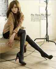 WOMENS LADIES SEXY OVER THE KNEE THIGH HIGH ZIPPER UP STILETTOS HEELS BOOTS SIZE