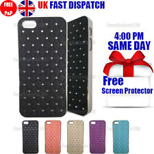 DIAMOND BLING CHROME HARD CASE & FREE SCREEN PROTECTOR FITS Apple iPhone 5G5S SE