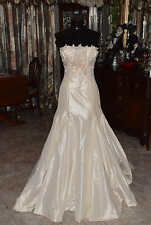 Maggie Sottero French Taffeta Strapless Bridal Gown Wedding Dress  Size 8
