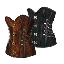Sexy Spiral Steel Boned Overbust Lace-Up Plus Size Steampunk Corset Bustier Top