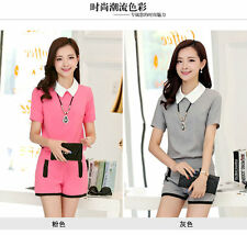 New Women Fashion Slim Short Sleeve Doll Collar T Shirt Tops + Shorts Suit