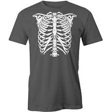 Skeleton Rib Cage T-Shirt Funny Spine Halloween Costume Dressup Horror Tee New