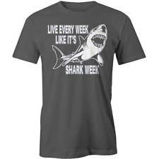 Live Every Week Like It's Shark Week T-Shirt Funny Cable TV Discovery Channel Na