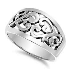 Curvy Heart Ring, 925 Silver, Girly, Fancy, Finely Detailed, Beautiful, Precious