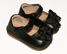 MOOSHU Trainers Squeeker Shoes Add A Bow NEW Black Sz 6-8