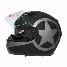 BLACK STAR MATTE DUAL VISOR FULL FACE MOTORCYCLE HELMET + SMOKE SUN SHIELD S~XXL