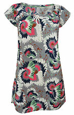 New White Stuff  8 - 18  Cotton Grey Blue Pink Floral Print Tunic Dress Top
