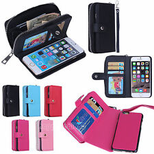 PU Leather Wallet Card Slot Wristlet Cash Clutch Case Cover for iPhone 6 &6 Plus