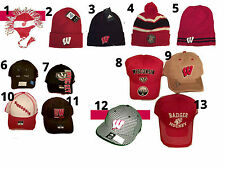 WISCONSIN BADGERS RETRO VINTAGE 80'S STYLE STRIPED HOCKEY KNIT FASHION HAT