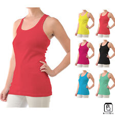 Women's Cotton Basic Stretch Racer Back Ribbed Yoga Sport Tank Top Multi Color