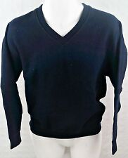 LONG SLEEVE V - NECK PLAIN SWEATSHIRT PULLOVER SWEATER, NAVY BLUE