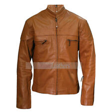 Men Cafe Racer Biker Style Brown Leather Jacket Worldwide Shipping
