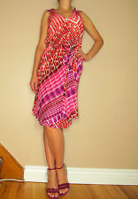 $1890 Escada Couture Pink Red White Print Silk Cocktail Dress EU 36 2-4-6 XS-S