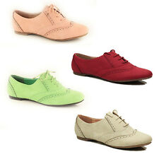 WOMENS LADIES BROGUES LACE UP OXFORD PUMPS LOAFERS MOCCASINS SHOES SIZE 3-8