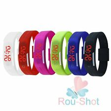 LED Unisex Jelly Silicone Bracelet Sport Wrist Digital Watch Touch Screen Gift