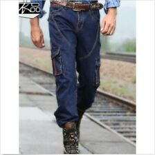 Stylish Loose Fit Casual Cargo Overalls Baggy Mens Denim Pants Jean Trousers