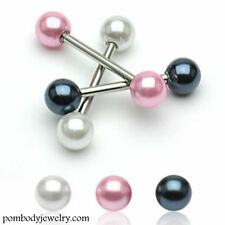 14G Surgical Steel Pearl Coated Ball Barbell Nipple Tongue Ring