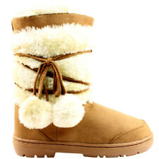 Ladies Pom Pom Short Classic Fur Lined Waterproof Winter Rain Boots All Sizes