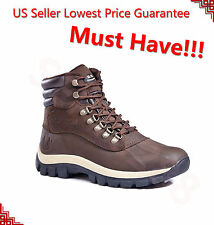 NEW YEAR SALE Kingshow Men's Winter Snow Boots Leather Waterproof 0705 Brown