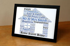 New Home Moving in House Personalised Word Art Gift Keepsake Present A4 Print